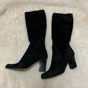 Black suede pull on boots